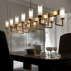 A collection of our favourite dining rooms. Including jaw-dropping chandeliers, wall sconces, dining table lamps and contemporary dining room furnishings. Ceiling Decor, Ceiling Lamp, Ceiling Lights, Ceiling Ideas, Linear Chandelier, Contemporary Chandelier, Chandelier Shades, Cool Lighting, Modern Lighting