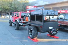Jeep Wrangler and tent camp trailer Kayak Trailer, Off Road Camper Trailer, Trailer Build, Bug Out Trailer, Camper Trailers, Quad Trailer, Jeep Cj7, Jeep Rubicon, Jeep Wrangler