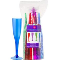 Assorted Color Plastic Champagne Glasses 6oz 20ct - Party City