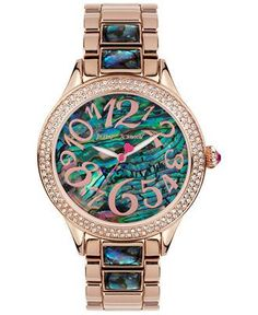 Betsey Johnson Women's Abalone-Color and Rose Gold-Tone Bracelet Watch 40mm BJ00478-04 - Women's Watches - Jewelry & Watches - Macy's #watches