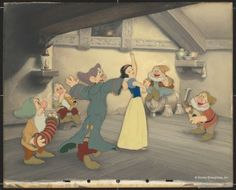 """""""Snow White Dancing with Dopey and Sneezy. Doc, Happy, Bashful, Sleepy Playing Music."""" Disney Studio Artist Reproduction cel setup; ink and acrylic on cellulose acetate. Courtesy Walt Disney Animation Research Library. ©Disney."""
