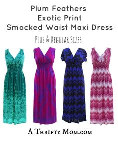 Plum Feathers Exotic Print Smocked Waist Maxi Dress. Maxi dresses are so great, I might have to get all of them! - Plus & Regular Sizes - A Thrifty Mom