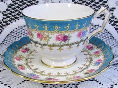 AYNSLEY TURQUOISE BAND FLORAL GARLAND TEA CUP AND SAUCER   eBay