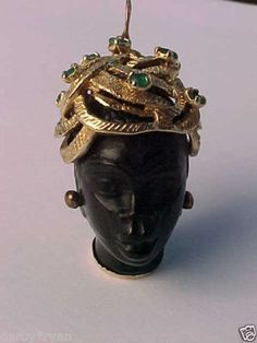Vintage 14kt Blackamoor Charm Adorned with Emeralds