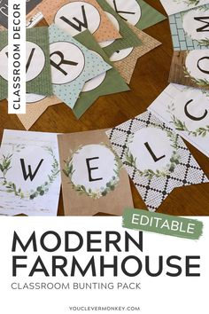 This MODERN FARMHOUSE Bunting brings old and new elements to give your classroom the perfect farmhouse feel this back to school season. Main colors of B W, olive and sage greens, pale mint, toast and toffee browns are paired with earthy elements of wood and shiplap, chalkboard, tiles, paper, fabric and concrete. Plenty of botanical prints in leafy greens and hand drawn black and white complete the pack. This bunting pack is effortlessly timeless bringing your favorite style into class! Bunting Ideas, Bunting Flags, Classroom Displays, Classroom Themes, Touch Of Gray, Project Based Learning, Main Colors, Botanical Prints, Home Decor Styles
