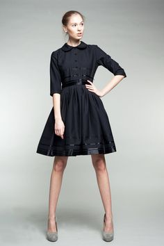 Custom Made Black Shirtwaist  Woolen Dress by Mrs by mrspomeranz, £289.00