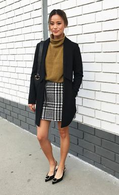 Jamie Chung Decades Chanel Event Storets Houndstooth Skirt