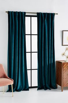 home decor 2019 Velvet Louise Curtain by Anthropologie in Blue, Curtains Art Deco Curtains, Unique Curtains, Colorful Curtains, Drapes Curtains, Dark Teal Curtains, Emerald Green Curtains, Fringe Curtains, Gypsy Curtains, Thick Curtains