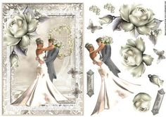 The Bride and Groom A5 topper with decoupage on Craftsuprint designed by Julie Hutchings - Beautiful topper to fit an A5 size card with decoupage and sentiment tags On Your Wedding Day and With Love - Now available for download!