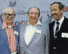 Marc Davis (center) with Disney Animator, Ward Kimball on the left and Roy E. Disney on the right.