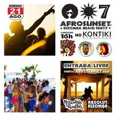 É HOJEEEE! Dia 21 AGO: AFROSUNSET  Kizomba Beach Party  no KONTIKI - 16h. NO SHIRT - NO SHOES - JUST DANCE!  info em Facebook: Kizomba Power  ENTRADA LIVRE   #kontiki #kizomba #kizombapower #semba #zouk #tarraxinha #costa #afrosunset #djemanuelson #djvitorblack