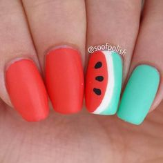 Matte watermelon nail design <3