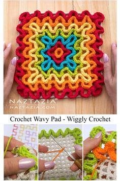 Wiggly Crochet Patterns, Crochet Potholder Patterns, Crochet Square Patterns, Crochet Squares, Crochet Motif, Crochet Designs, Crochet Yarn, Crochet Hooks, Spiral Crochet
