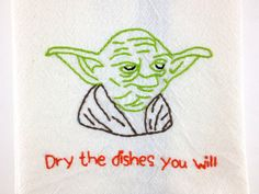 Star Wars Yoda Embroidered Kitchen Towel by SnarkyOwl on Etsy