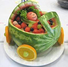 Watermelon baby bassinet. I made on like this for my daughter's shower.