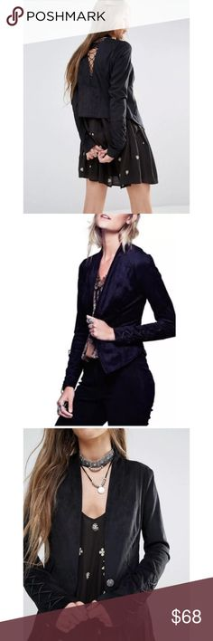 Free People Faux Suede Lace up Jacket Brand new with tags Free People faux suede jacket, size 2 Soft and stretchy 90% polyester, 10% Spandex faux suede in black Cute cut out laced back detail Single front snap closure Front pockets Angled front hem Laced detail on sleeves Shaped, body skimming fit  Retails for $168 Super cute and comfy!! Free People Jackets & Coats Blazers
