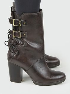 5ddcdc6672db Vegan and vegetarian Women s Heeled buckle Boots in Brown that are stylish