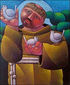 st francis painting naif - by Osvaldo Ribeiro (Brazil) St Francisco, Latino Artists, Francis Of Assisi, Beautiful Posters, Soul Art, Arte Popular, Religious Art, Pilgrimage, Deities