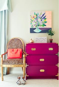 Photo from shout out in this month's Society Social's Manifesto Magalog by interior designer Tiffany Richey!  Love the dresser.  Have one that looks just like it; possible DIY repurpose