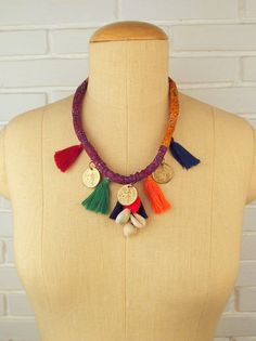Handmade goodness... Kantha tassel necklace with cowries and coins. #DIR69 #boho #gypsy #festival #handmade