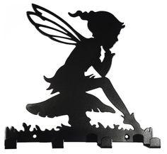 15.75 (similar)Pixie Girl sat on Toadstool Silhouette Coat/Dog Lead Hook Rack - elf metal wall art fairy