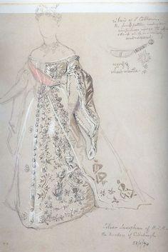 1874-Grand Duchess Maria Alexandrovna Court Gown drawing.