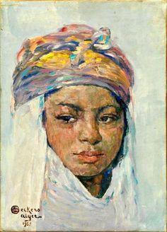 Emile DECKERS (1885-1968) - Portrait de jeune algérienne