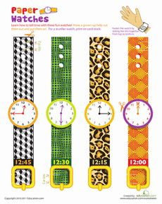 Paper watches to wear. Practice telling time...laminate and put on cut-up toilet paper rolls