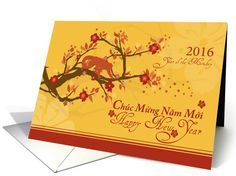 Vietnamese new year greetings cards tet vietnamese new year vietnamese new year of the monkey cherry blossoms card m4hsunfo