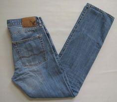 "American Eagle Slim Straight Jeans 30 34""  Mens Light Low rise Cotton Denim 2013 #AmericanEagleOutfitters #ClassicStraightLeg"