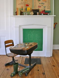 Transform a boarded-up fireplace into a family message board with a few coats of chalkboard paint. Try schoolhouse green paint and your fireplace won't look like a black hole.