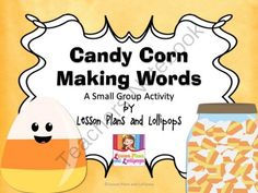 Candy Corn Making Words: A Small Group Activity from Lesson Plans and Lollipops on TeachersNotebook.com (10 pages)  - This is a word building activity to use with students during guided reading.  I color coded each set of letter card so they are easy to sort and the kids can keep them separated easier.  I also included a work mat for them to make the words on.  This is a