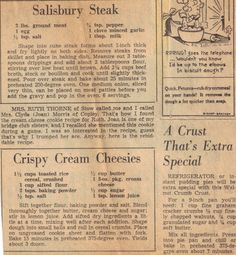easy recipes - Salisbury Steak I use very little bacon grease to cook my onions to softened, then add flour and broth Very Tasty! Retro Recipes, Old Recipes, Cookbook Recipes, Vintage Recipes, Meat Recipes, Cooking Recipes, Recipies, Blender Recipes, Hamburger Recipes
