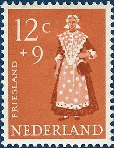 P8 Buttons  Fabrics: Traditional Costumes : Postage Stamps Holland 1958
