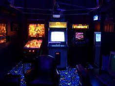 Garage turned into a Cool Retro Looking Arcade Game room.