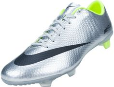 Nike Mercurial Veloce FG Soccer Cleats - Metallic Silver with Volt.Available at SoccerPro Now! Nike Football Boots, Soccer Boots, Football Boys, Football Cleats, Superfly Soccer Cleats, Messi Soccer, Nike Soccer, Play Soccer, Soccer Stuff