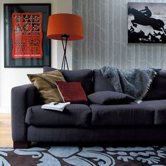 Living room Grey and orange, Woods by Cole & Son Masculine Living Rooms, Living Room Grey, Home Living Room, Interior Color Schemes, Gray Interior, Interior Design, Colourful Living Room, Victorian Terrace, Decorating Small Spaces