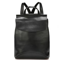 Black European and American Style Fashionable Large and Soft Cow Split Leather Backpacks for Ladies