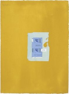 Robert Motherwell, In Yellow Ochre with Two Blues, 1968, acrylic and pasted papers on paper, 77.5 x 56.5 cms (30 1/2 x 22 1/4 ins), RM13995