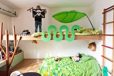 snake rail on bunk bed; tree branch ladder; bedroom in sao paolo architects' home via the selby