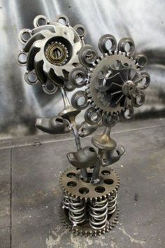 metal flowers from recycled car parts