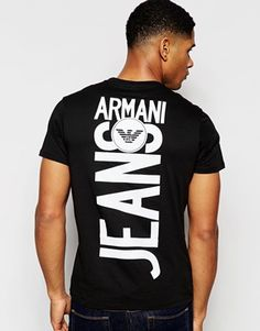 Armani Jeans T-Shirt with Back Print V Neck Regular Fit