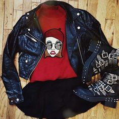 Luanna Perez edgy/rock/grunge outfit. Looove it! Leather jacket.cartoon printed sweater.skater skirt.studded boots