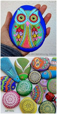 We Fell Head Over Heels For These Adorable Painted Owl Rocks Painted Rocks Owls, Owl Rocks, Mandala Painted Rocks, Mandala Rocks, Painted Stones, Rainbow Painting, Dot Art Painting, Rock Painting Designs, Stone Painting