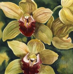 Buy a touch of red, Watercolour by Alfred Ng on Artfinder. Arches Watercolor Paper, Watercolor Canvas, Watercolor Flowers, Watercolor Paintings, Watercolour, Orchid Drawing, Orchids Painting, Large Art Prints, Cymbidium Orchids