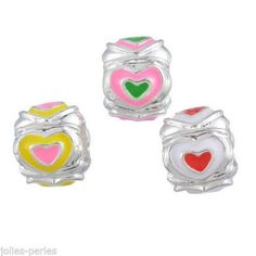 15PCs Enemal Heart Love European Charm Spacer Beads Jewelry Bracelet DIY Mixed