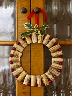 CORK : This cork and jingle bell wreath feels both rustic and festive all at once. What a fun way to remember those shared bottles of wine. 10 Alternative Wreaths to Make You Forget About Evergreens