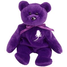 Retired 1997 Ty Beanie Baby - Princess Diana Di Purple Bear with White Rose - I have this bear.  She is sooo pretty.