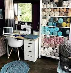 Wall Hanging Crafts, Yarn Wall Hanging, Crochet Storage, Craft Corner, Sewing Rooms, Living At Home, Space Crafts, Crochet For Beginners, Getting Organized
