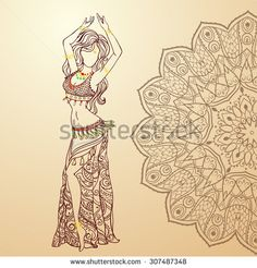Ornament beautiful card with girl belly dance. Geometric element hand drawn. Perfect  cards for any other kind of design, birthday and other holiday, kaleidoscope,  medallion, yoga, India, arabic - stock vector
